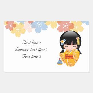 Summer Kokeshi Doll - Yellow Kimono Geisha Girl Rectangular Sticker
