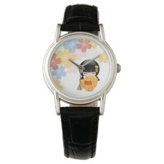 Summer Kokeshi Doll - Yellow Kimono Geisha Girl Watch