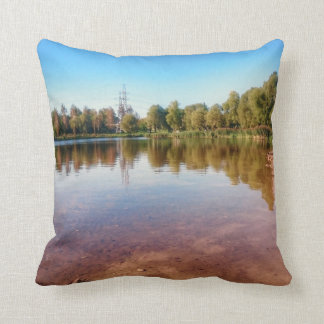Summer Lake Countryside Landscape Throw Pillow