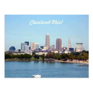 Summer Lake Skyline Cleveland OH Postcard