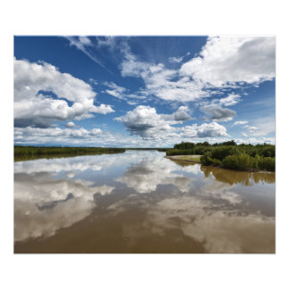 Summer landscape: clouds reflection in river photographic print