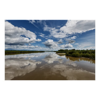 Summer landscape: clouds reflection in river poster