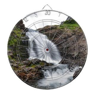 Summer landscape - mountain waterfall dartboard