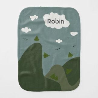 Summer landscape personalised baby burp cloths
