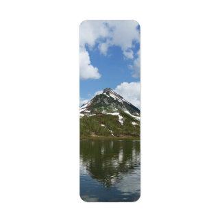 Summer landscape: reflection of mountains in lake return address label