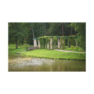 Summer landscape with a pergola canvas print