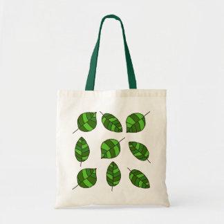 Summer Leaves Green Leaf Pattern Budget Tote Bag