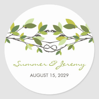Summer Leaves Knotted Love Trees Wedding Stickers