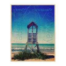 Summer Life Guard Beach Chair Wood Canvas