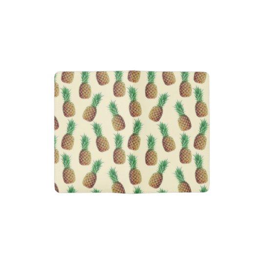 Summer Light Beige Pineapple Pattern Pocket Moleskine Notebook