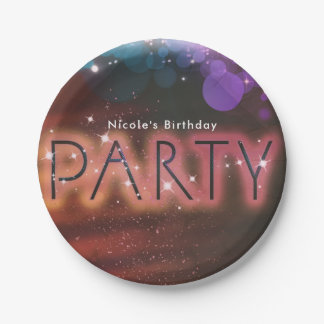 Summer Lights Sparkle Dance Club Birthday Party 7 Inch Paper Plate