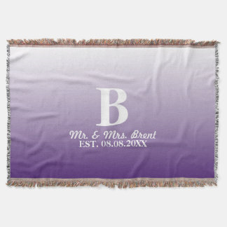 summer lilac ombre purple monograms throw blanket