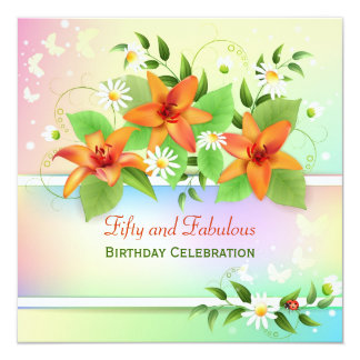 Summer Lily Floral 50th Birthday Invitation