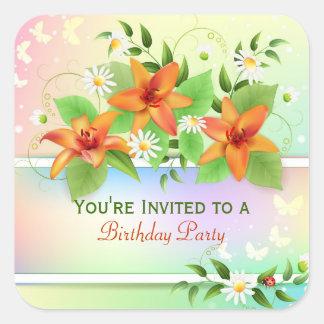 Summer Lily Floral Birthday Sticker