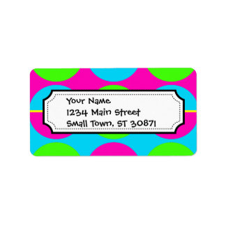 Summer Lime Green Hot Pink Teal Circles Stripes Address Label