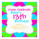 Summer Lime Green Hot Pink Teal Circles Stripes 13 Cm X 13 Cm Square Invitation Card