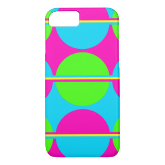 Summer Lime Green Hot Pink Teal Circles Stripes iPhone 7 Case