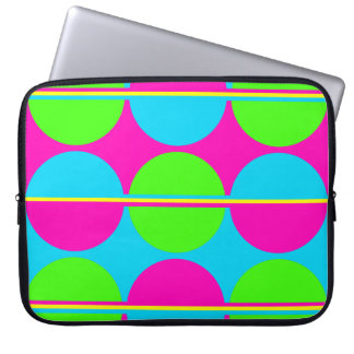 Summer Lime Green Hot Pink Teal Circles Stripes Laptop Sleeve