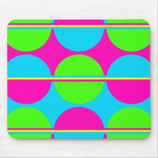 Summer Lime Green Hot Pink Teal Circles Stripes Mouse Mat