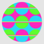Summer Lime Green Hot Pink Teal Circles Stripes Round Stickers