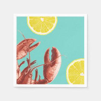 Summer Lobster Boil Party Aqua Disposable Serviette