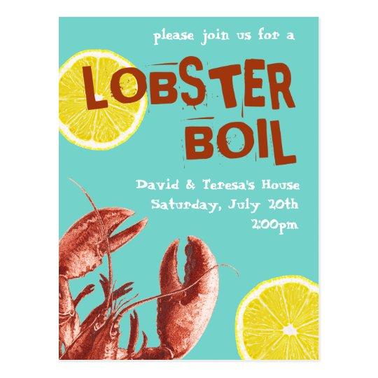 Summer Lobster Boil Party Aqua Postcard