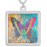 Summer Love Butterfly Square Necklace