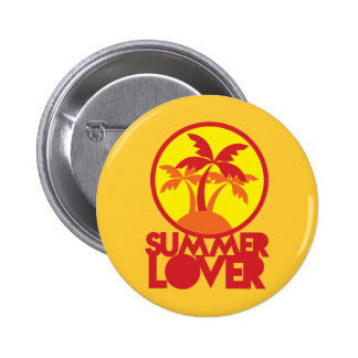 SUMMER LOVER with palm trees 6 Cm Round Badge