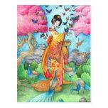 Summer Maiko Geisha Butterfly Peacock Art Postcard