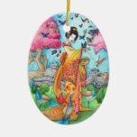 Summer Maiko Ornament, Geisha Butterfly & Peacocks