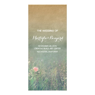 summer meadow rustic romantic wedding programs rack card