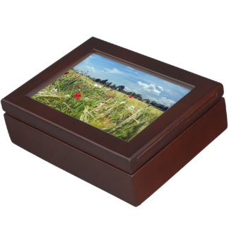 Summer Meadowsr ed poppies wild flowers Garden of Keepsake Box