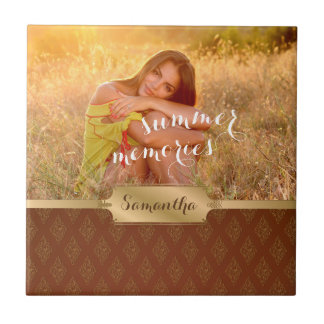 Summer Memories Custom Photo and Calligraphy Tile
