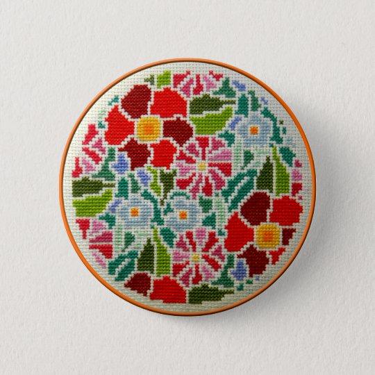 Summer memories hand embroidered round ornament 6 cm round badge