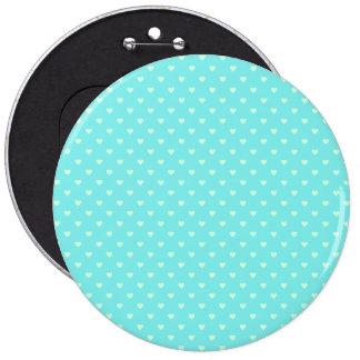 Summer Mint Green Polka Dot Hearts on Aqua Blue 6 Cm Round Badge