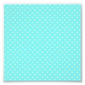 Summer Mint Green Polka Dot Hearts on Aqua Blue Photo Print