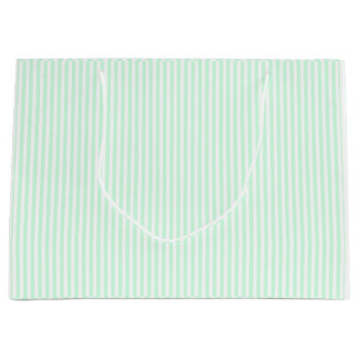 Summer Mint Pale Green Mint & White Stripe Large Gift Bag