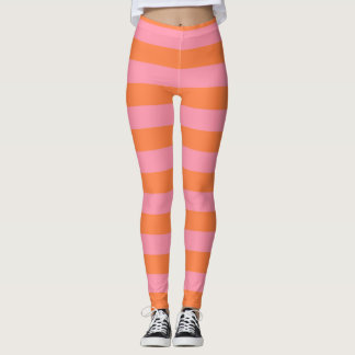 Summer Mood Pink Orange Lines Leggings