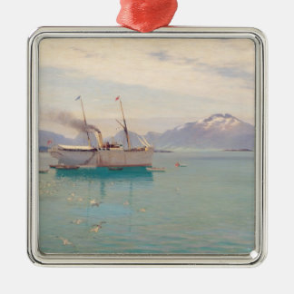 Summer Morning at Molde, 1892 Silver-Colored Square Decoration