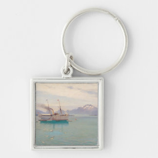 Summer Morning at Molde, 1892 Silver-Colored Square Key Ring