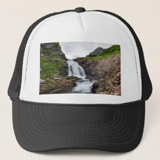 Summer mountain landscape - beautiful waterfall trucker hat