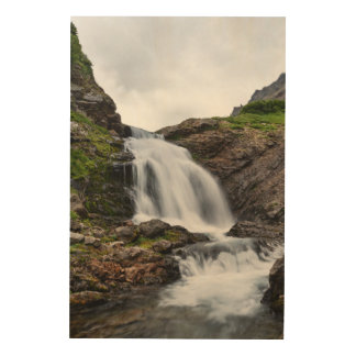 Summer mountain landscape - beautiful waterfall wood wall art