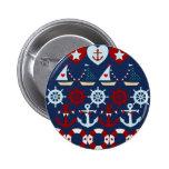 Summer Nautical Theme Anchors Sail Boats Helms Pinback Button