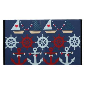 Summer Nautical Theme Anchors Sail Boats Helms iPad Case