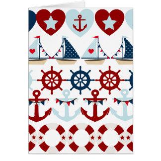 Summer Nautical Theme Anchors Sail Boats Helms Greeting Card