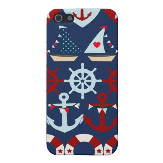 Summer Nautical Theme Anchors Sail Boats Helms iPhone 5 Case
