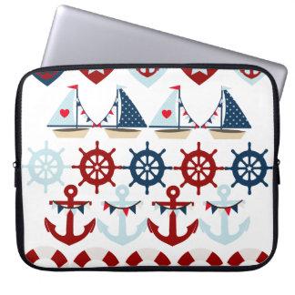 Summer Nautical Theme Anchors Sail Boats Helms Laptop Sleeve
