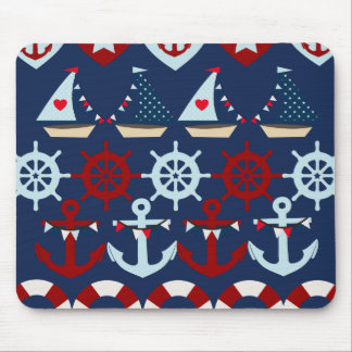 Summer Nautical Theme Anchors Sail Boats Helms Mouse Mat