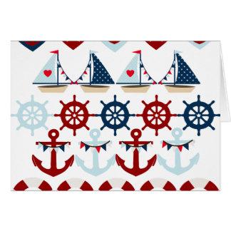Summer Nautical Theme Anchors Sail Boats Helms Note Card