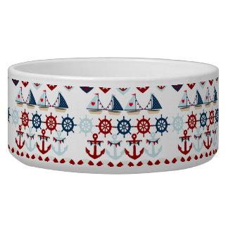 Summer Nautical Theme Anchors Sail Boats Helms Dog Water Bowls